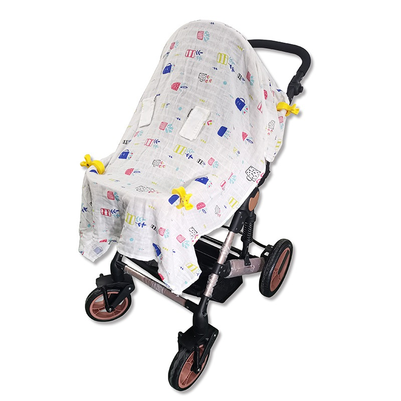 Infant Baby Blanket Car Seat Cotton Gauze Canopy Sun Protection Cover Windproof Stroller Comfort Blanket