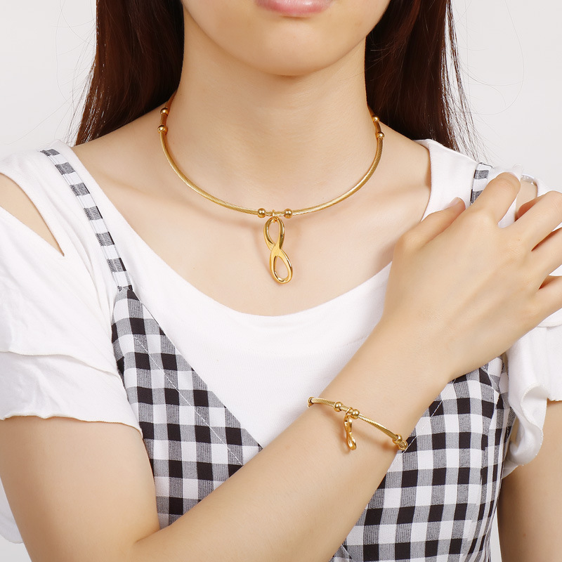 Stainless Steel jewelry sets fashion infinite 8 gold color Necklace Bracelet pendans sets High Quality for women And Girls