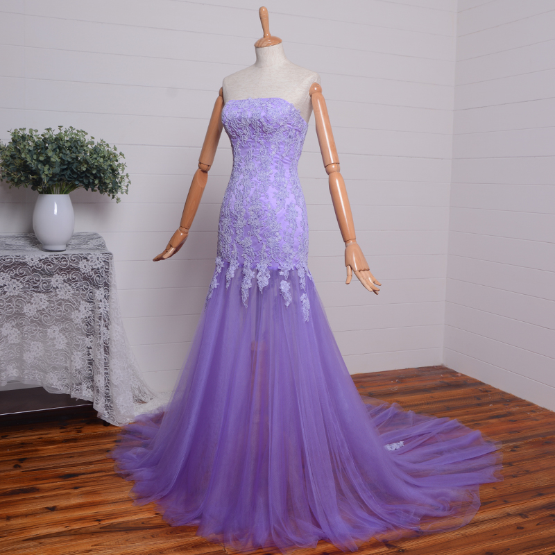 Elegant Strapless 2018 Hot Style Lace A-line Evening Formal Gown Real Photos Appliques Long Prom Mother Of The Bride Dresses