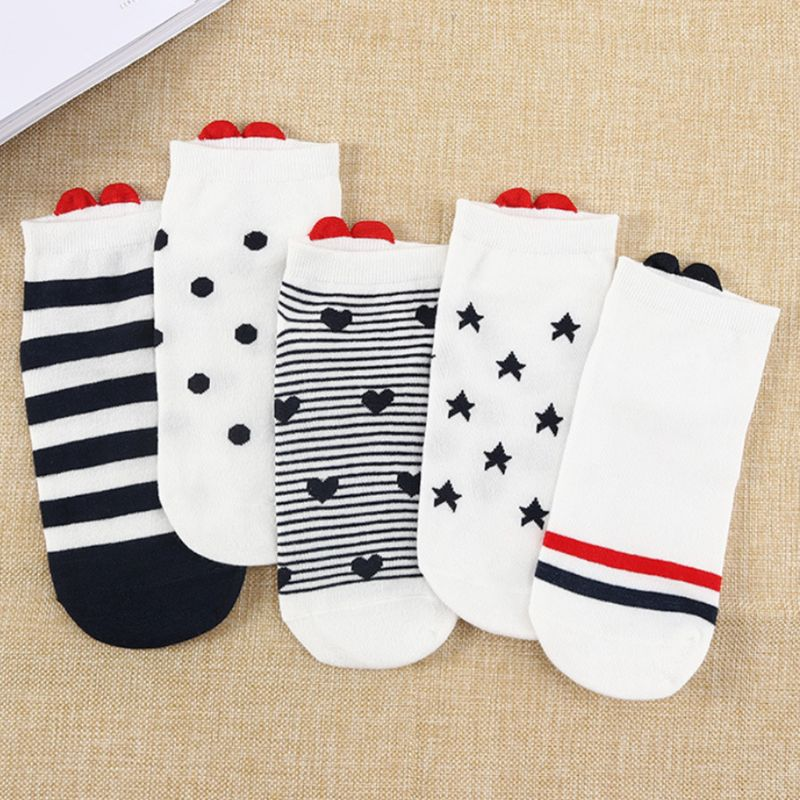 Women Girl Harajuku Japanese Low Cut Invisible Boat Socks Cute Red 3D Love Heart Patch Stripes Polka Dot Printed Cotton Hosiery