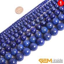 Круглые бусины синего лазурита незакрепленные из натурального