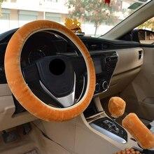 Universal Car Steering Covers Winter Plush Steering-Wheel Cover Faux Fur Hand Brake Gear Set Interior Accessories