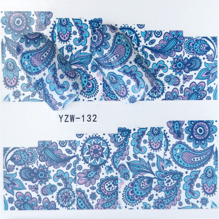 New Style Nail Sticker Yzw132 Fully Flower Stickers Nail Sticker Environmentally Friendly Breathable Nail Decal