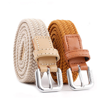 New Design Fashion Women Braided Belt Woven Canvas Pin Buckle Waist Straps Men Student Jeans Trouser Waistband buckle straps flap canvas backpack
