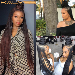 Image 2 - Kaylss 30 Inches 13x7 Braided Wigs Synthetic Lace Front Wig Updo Braided Wigs with Baby Hair for Black Women Cornrow Braided Wig