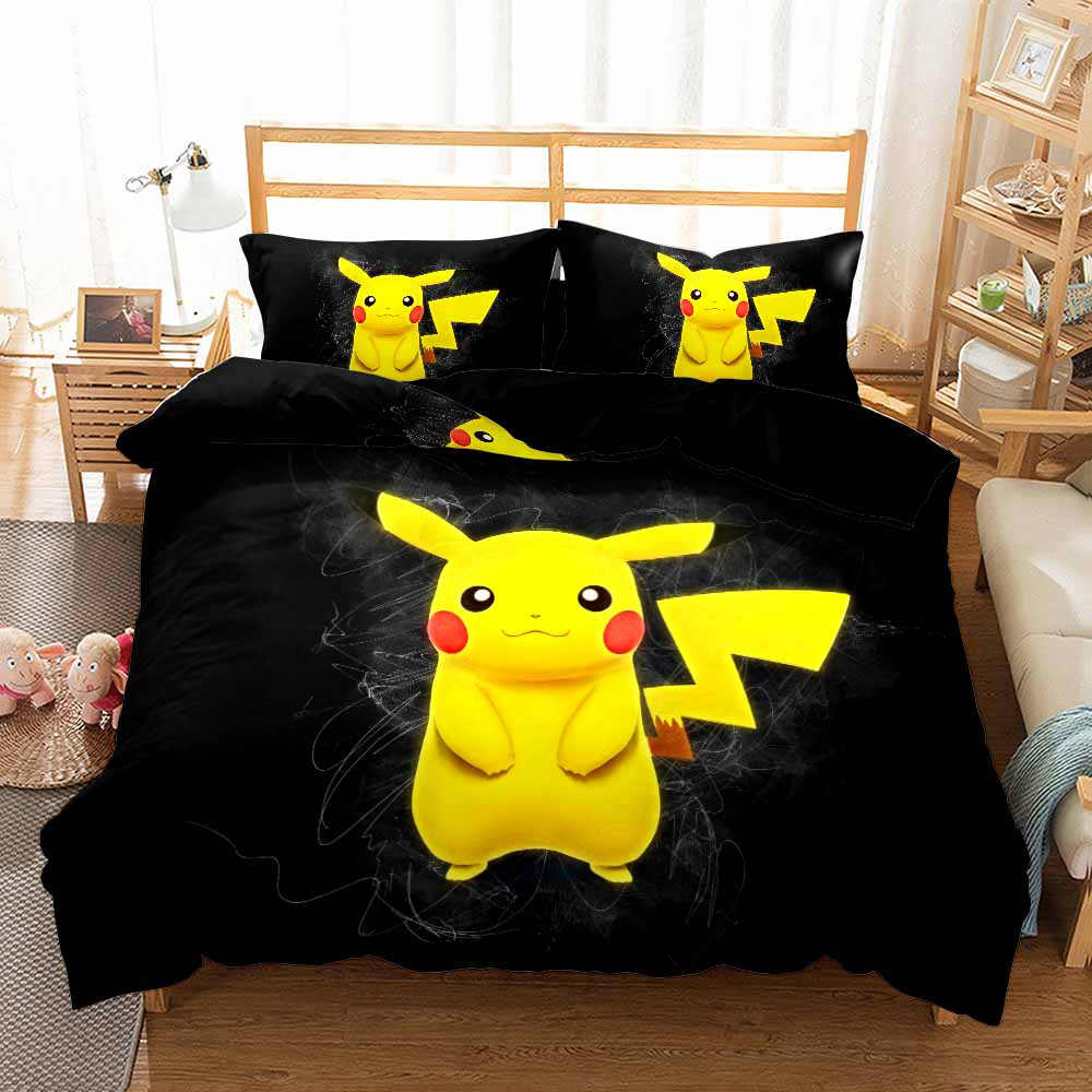 New Pikachu Anime Duvet Cover Set Twin Full Queen King Bed Linen Set Janpanese Game Character Cartoon Bedding Set 3PCS for Kids