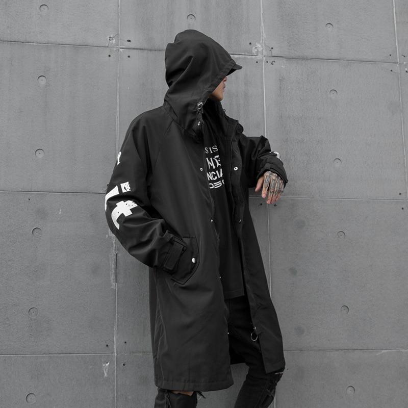 Jacket Overcoat Hooded Streetwear Windberaker Male Autumn Gothic Long Winter Print Loose
