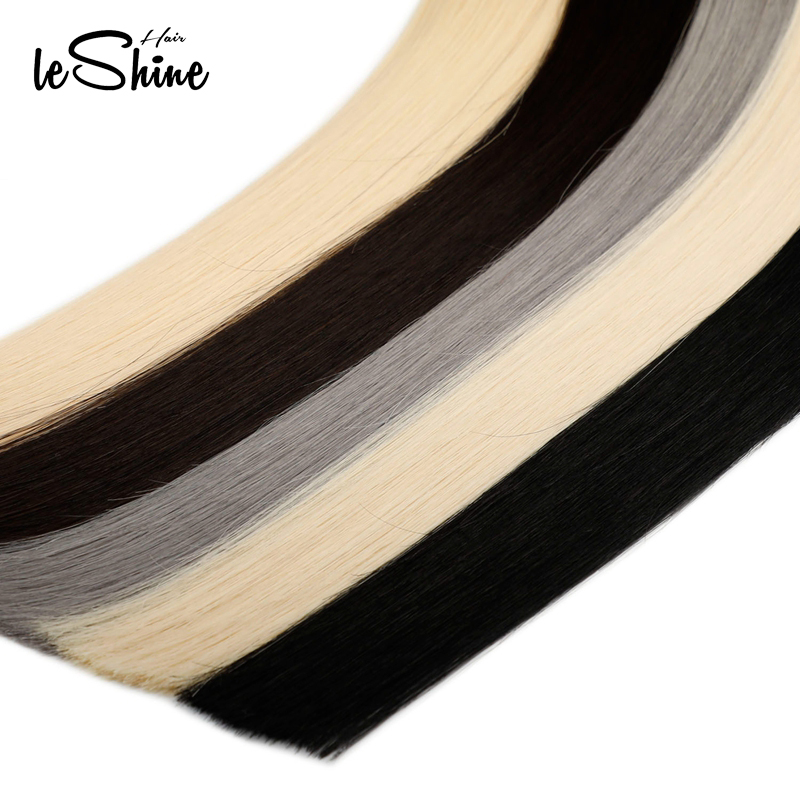 Leshine Tape In Hair Extensions Natural Human Hair PU Hair Extensions Silky Straight Hair Remy Hair  '18''1B 2#Color