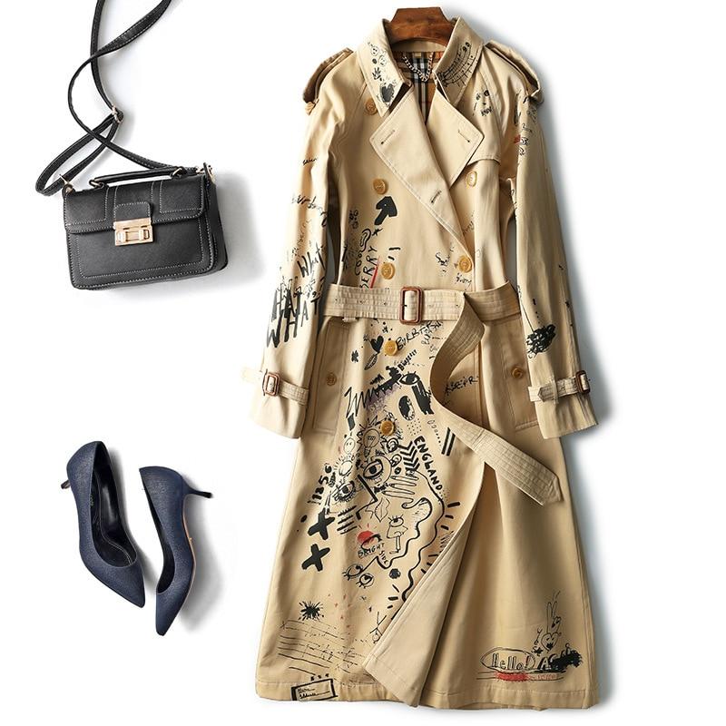 Autumn Winter Trench Coat Women Long Sleeve coat Sketch Graffiti Print Windbreaker Femme