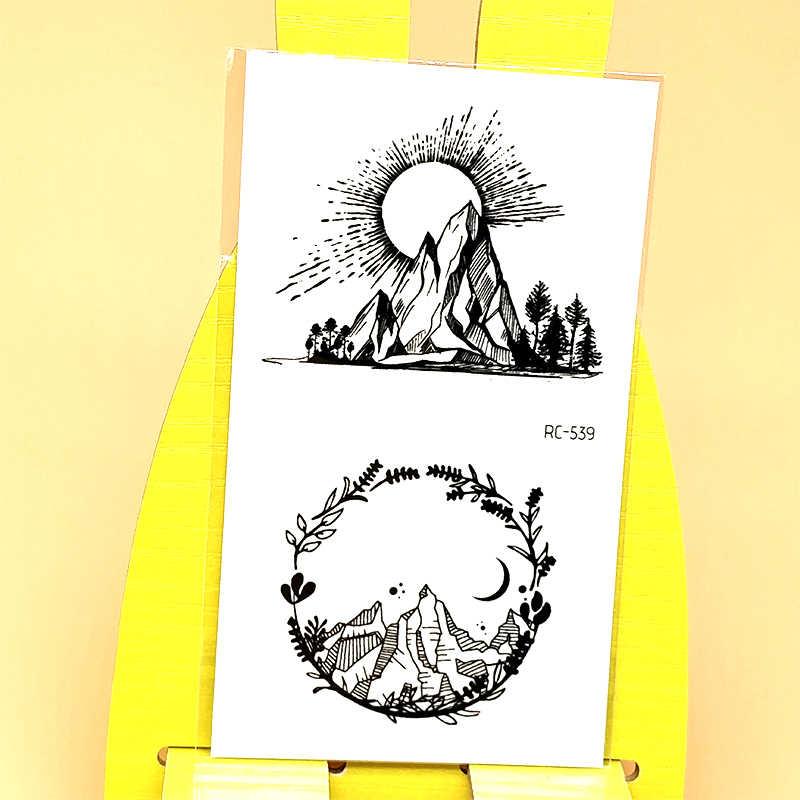 Tatuagem temporária adesivo menina mulher homem falso tatuagem sol pedra montanha design arte do corpo tatoo mão pé à prova dwaterproof água tatto adesivo