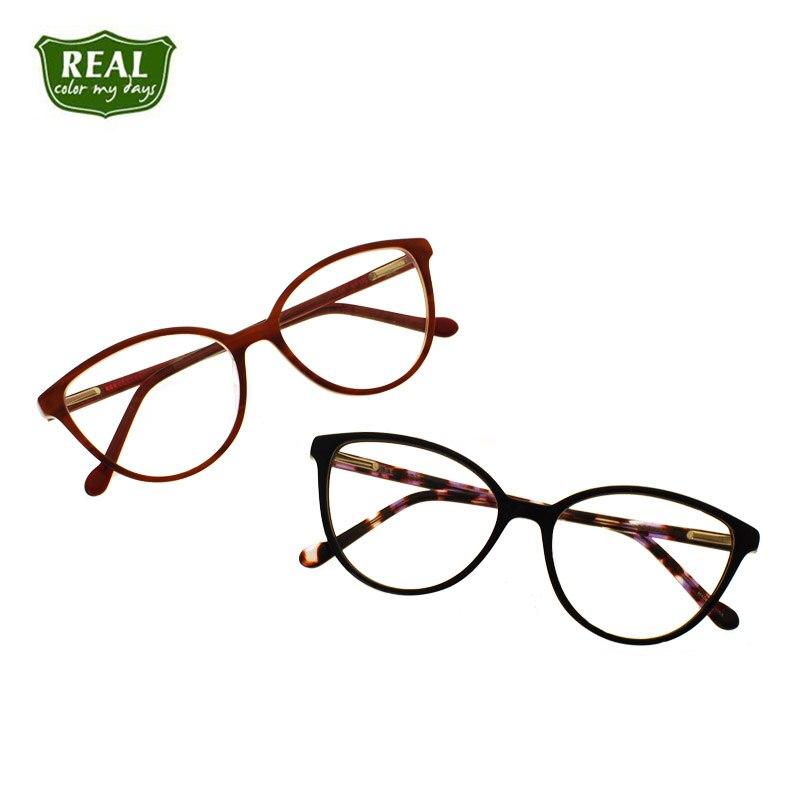 Marco de anteojos de diseñador para mujer, montura de gafas de acetato de ojo de gato