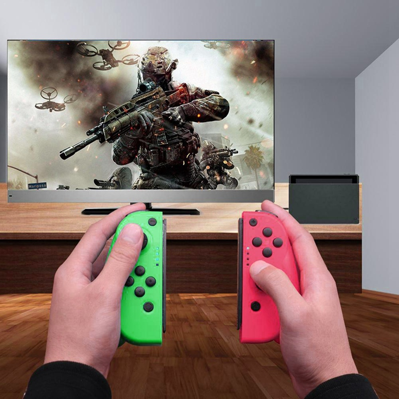 Contrôleur de jeu sans fil Bluetooth adapté aux poignées Ns Joy-Con (L/R) prend en charge la manette de connexion filaire/sans fil (rose + Gr