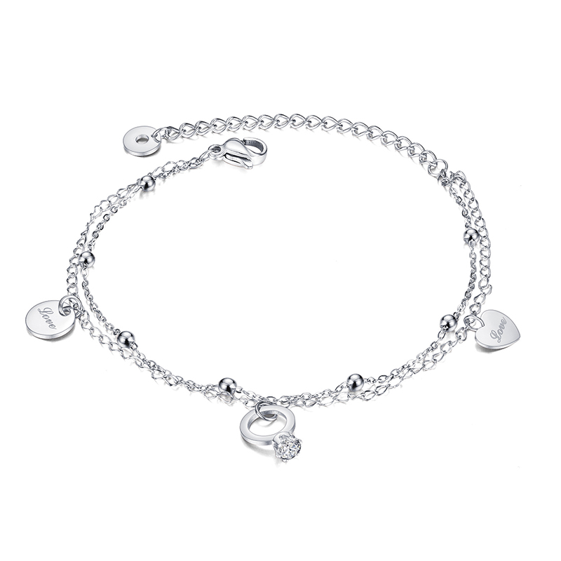 Stainless Steel Anklet Women Pendant Heart Round Cubic Zirconia Beads Chain Ankle Bracelet Sandals Summer Foot Jewelry Girl Gift