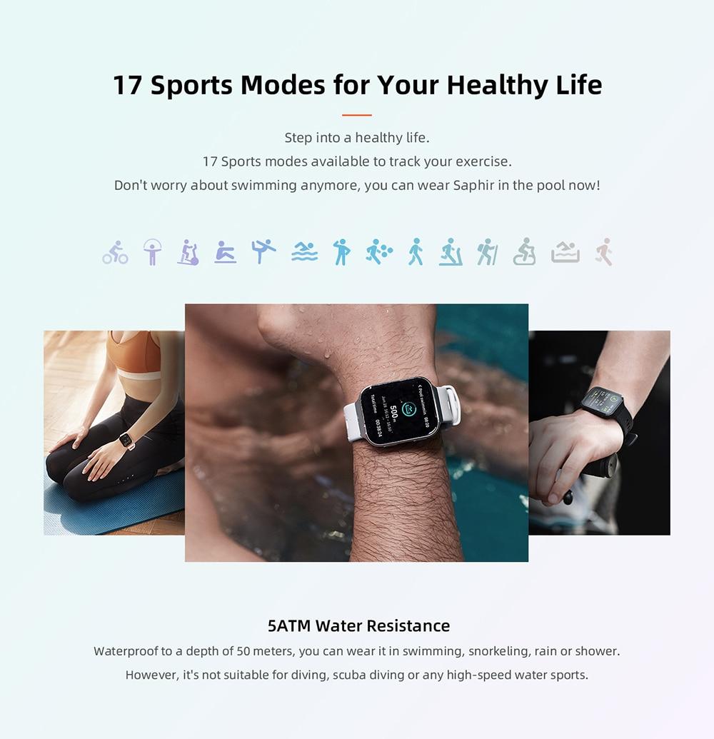 70mai Smart Watch Saphir Bluetooth GPS Sport Heart Rate Monitor v8