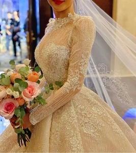 Image 2 - Vintage Vestidos De Novias High Kragen O Neck Bling Bling Glitter Stoff Langarm Ballkleid Muslimische Hochzeit Kleider
