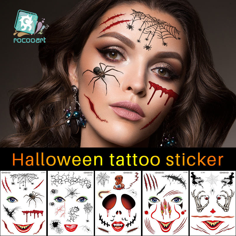Rocooart  Halloween Holiday Face Makeup And Terror Spider And Scar Mask Design Fake Temporary Waterproof Tattoo Sticker