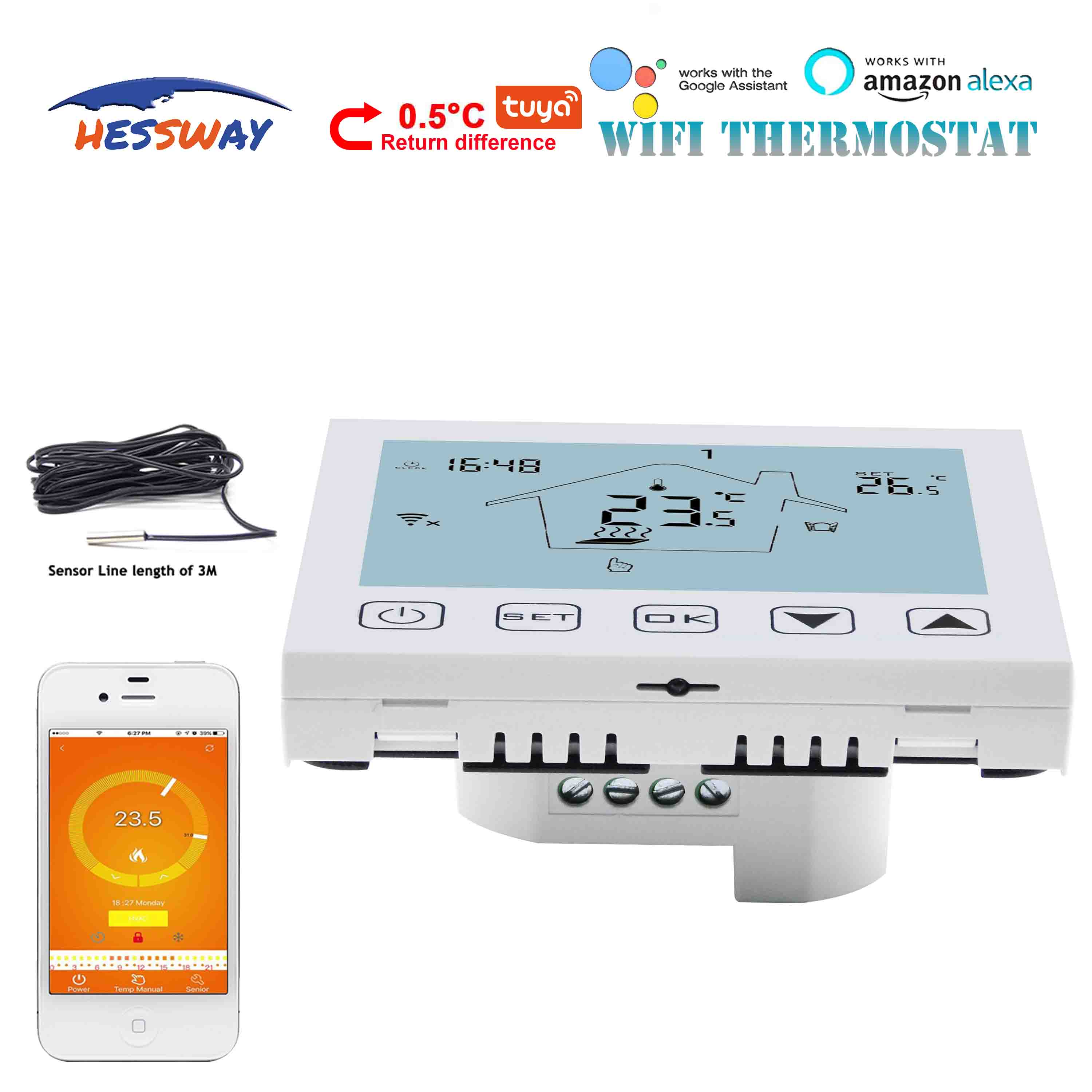 HESSWAY 16A heating cable TUYA WIFI thermostat for electric floor