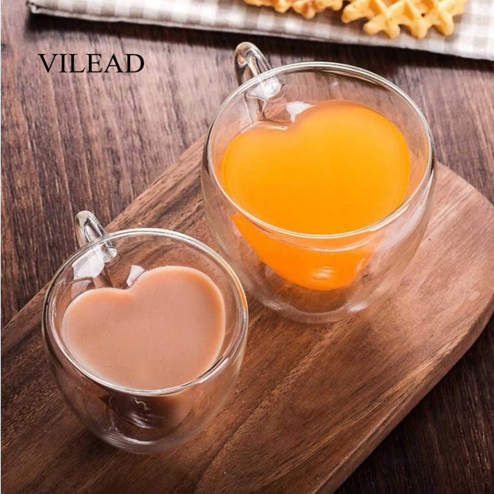 VILEAD 180ml 240ml Double Heart Shaped Water Glass With Handle Creative High Temperature Resistant Milk Coffee Flower Tea Cup