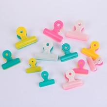 1PC Random Double Color Plastic Receipt Invoice Clip Candy Color Clips Office School File Clips Storage Tool