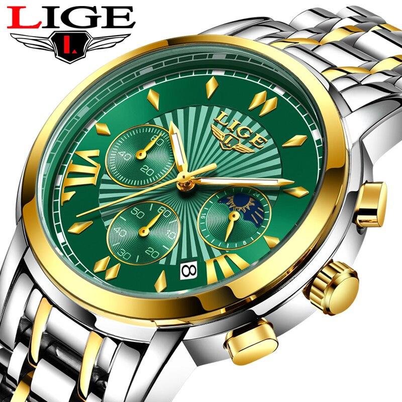 2020 LIGE Watch men Fashion Quartz Sport Watches Men Full Steel Military Clock Waterproof Gold men's Watch Relogio Masculino+Box(China)