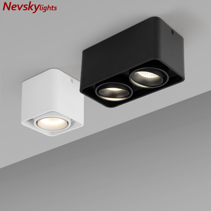 <font><b>LED</b></font> Surface Mounted Square Nordic Ceiling Downlight for living room <font><b>led</b></font> COB lamp bedroom white black <font><b>Cube</b></font> Spot light hallway image