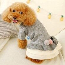 Новая двухцветная бальная юбка с бантом для домашних животных Одежда для собак чихуахуа на Хэллоуин зимние теплые лоскутные костюмы для собак ropa para perro