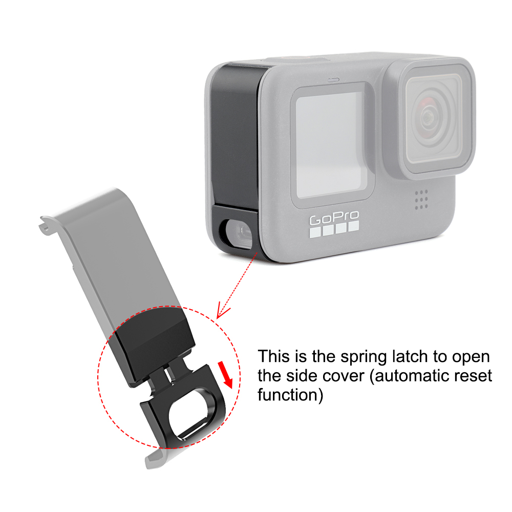 PULUZ For Go Pro Accessories Metal Battery Side Interface Cover for GoPro HERO9 Black