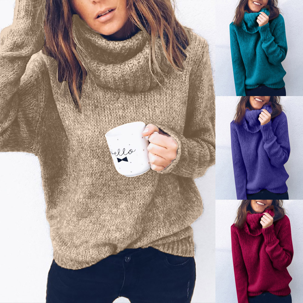 Cardigan Women winter Solid Long Sleeve Turtleneck Knitted Sweater Jumper Pullover Top Blouse pull femme nouveaute 2020#guahao