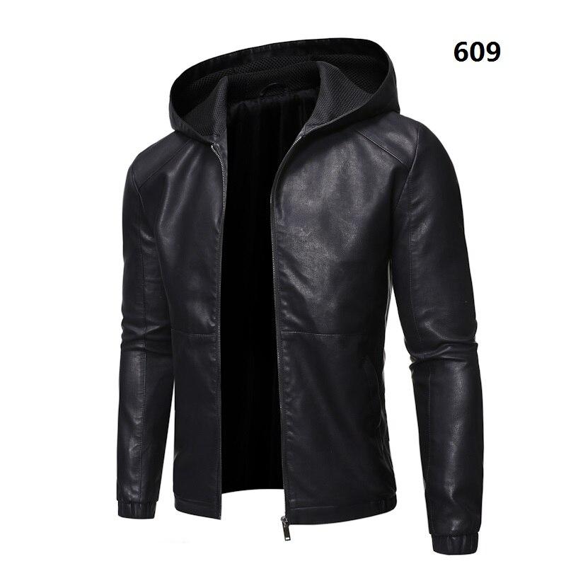 Chaqueta de cuero para motociclista con capucha y forro polar abrigo de piel para hombre chaqueta de piel para motocicleta PU informal ajustada para hombre prendas de vestir ajustadas talla M-5XL, GA538