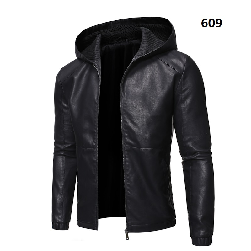 Hooded Plus Fleece Biker Leather Jacket Men Fur Coat Motorcycle PU Casual Slim Fit Male Slim Fit Outwear Size M-5XL ,GA538