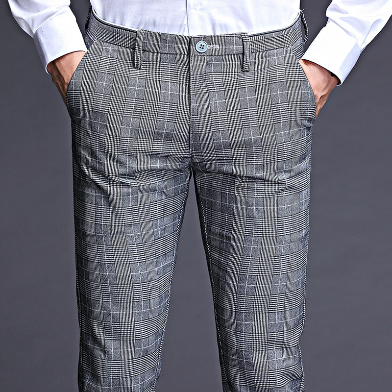 ICPANS Stretch Plaid Dress Pants Men Slim Fit  Men Suit Pants Length Formal Business Summer Suit Pants For Men Trousers