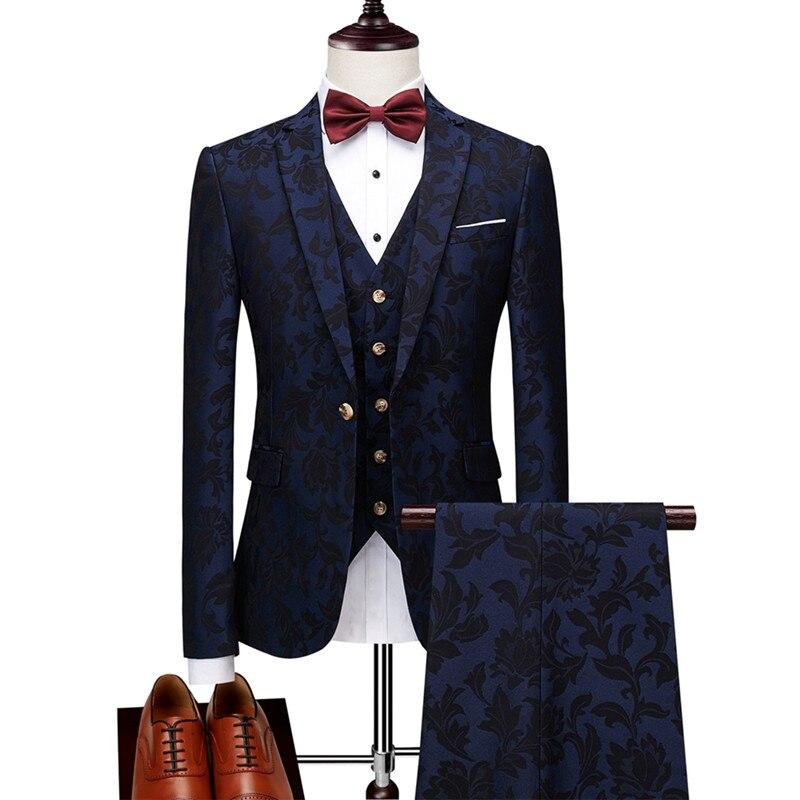 Jacquard Banquet Men's Suits High-end Custom Luxury British Suit Men's Temperament Slim Three-piece Suit (coat + Pants + Vest)