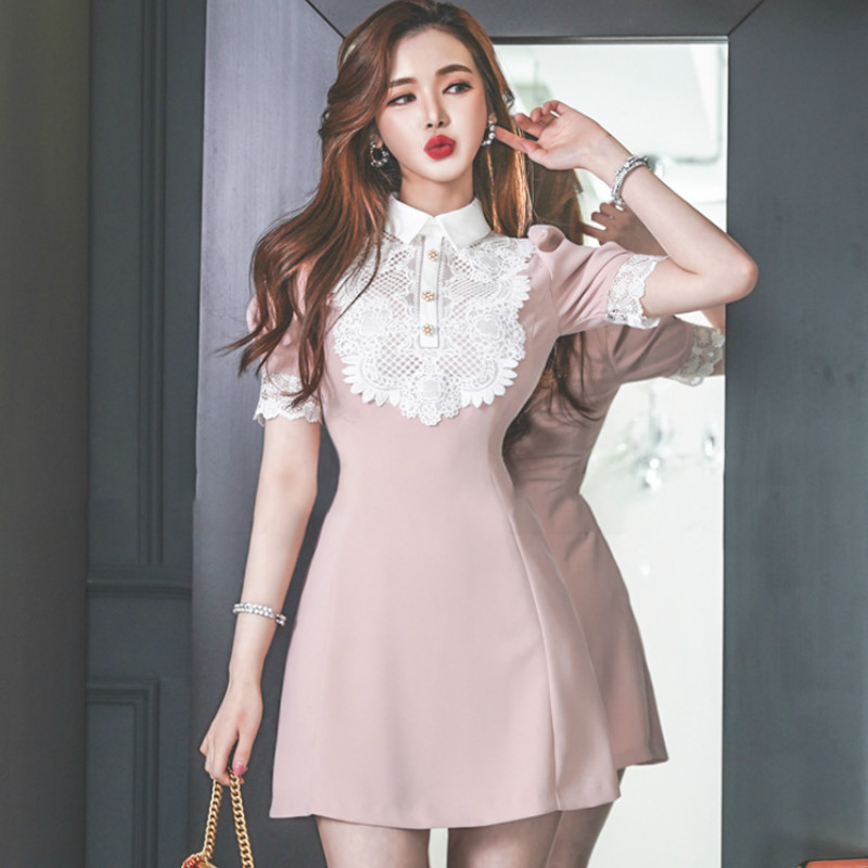2020 Summer Pink Lace Patchwork A-Line Mini Short Sleeve Vestidos Sweet Slim Cute Female Dress