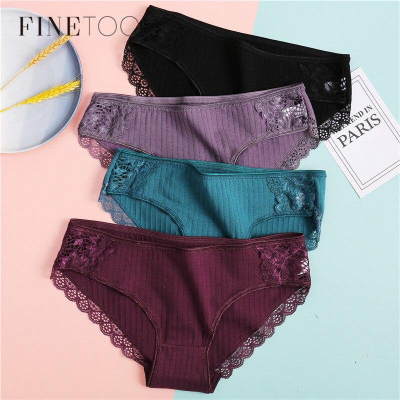 Women's   Panties   3Pcs/set Soft Cotton Underwear M-XL Sexy Lace   Panty   Women Underpants Girls Briefs Fashion Female Lingerie 2020