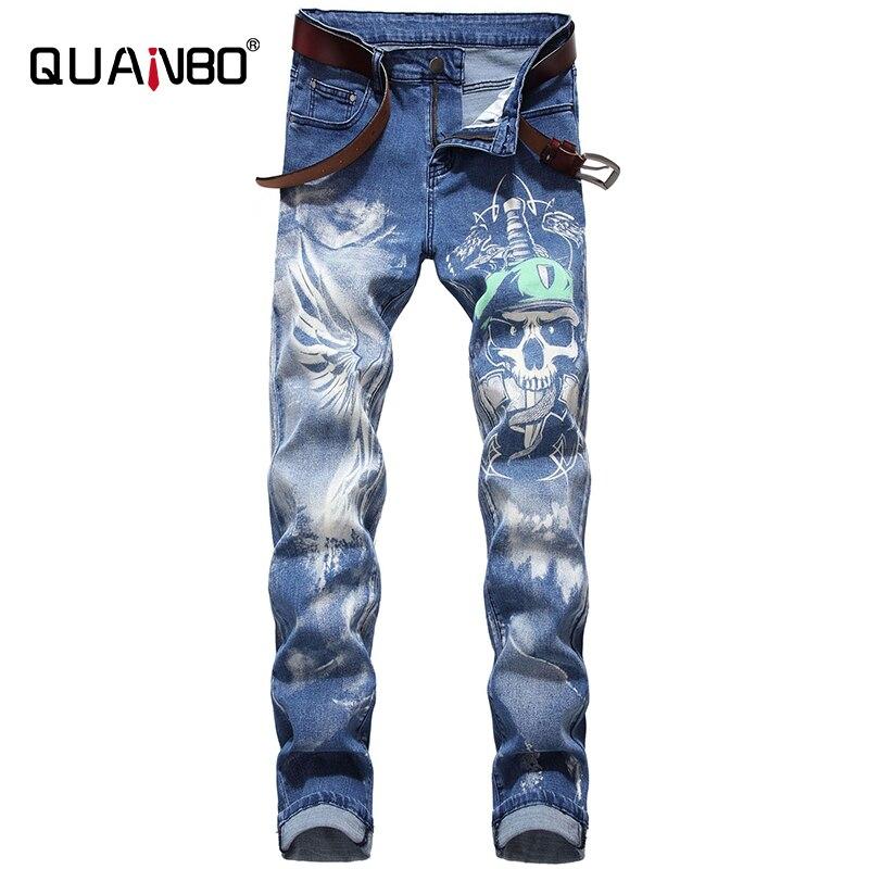 QUANBO Men's Fashion 3D Pattern Street Jeans Letters Printed Gothic Jeans Man Skinny Black Blue Designer Denim Pants 42