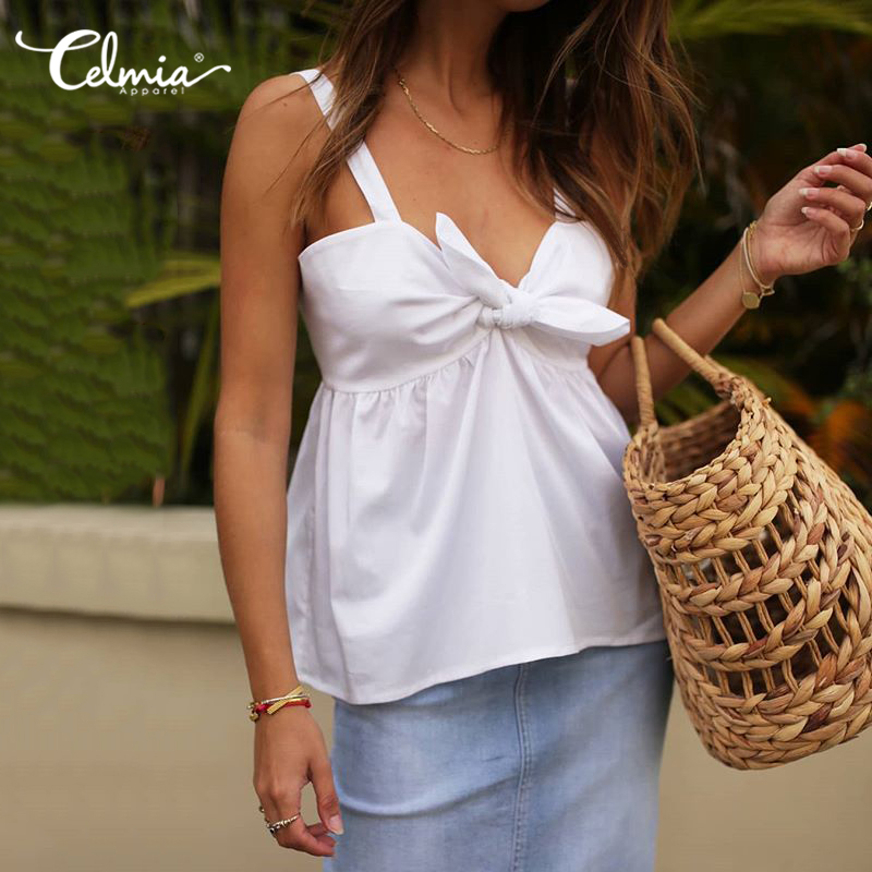 5XL Summer Camisole Women Tank Top Celmia 2020 Fashion Spaghetti Strap Sexy V-neck Camis Casual Loose Knot Solid Plus Size Tee 7