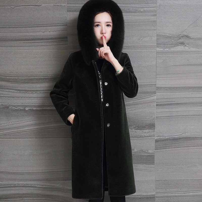 Winter 2020 Jacke Frauen Echt Schafschur Pelzmantel Weibliche Lange Warme Jacken Fuchs Pelz Mit Kapuze Plus Größe 5XL 6XL OT1726 s