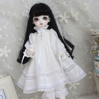 Doll clothes 1/4 1/6 doll dress white night skirt for 1/6 1/4 BJD SD doll accessories dress+hair decoration+pumpkin shorts