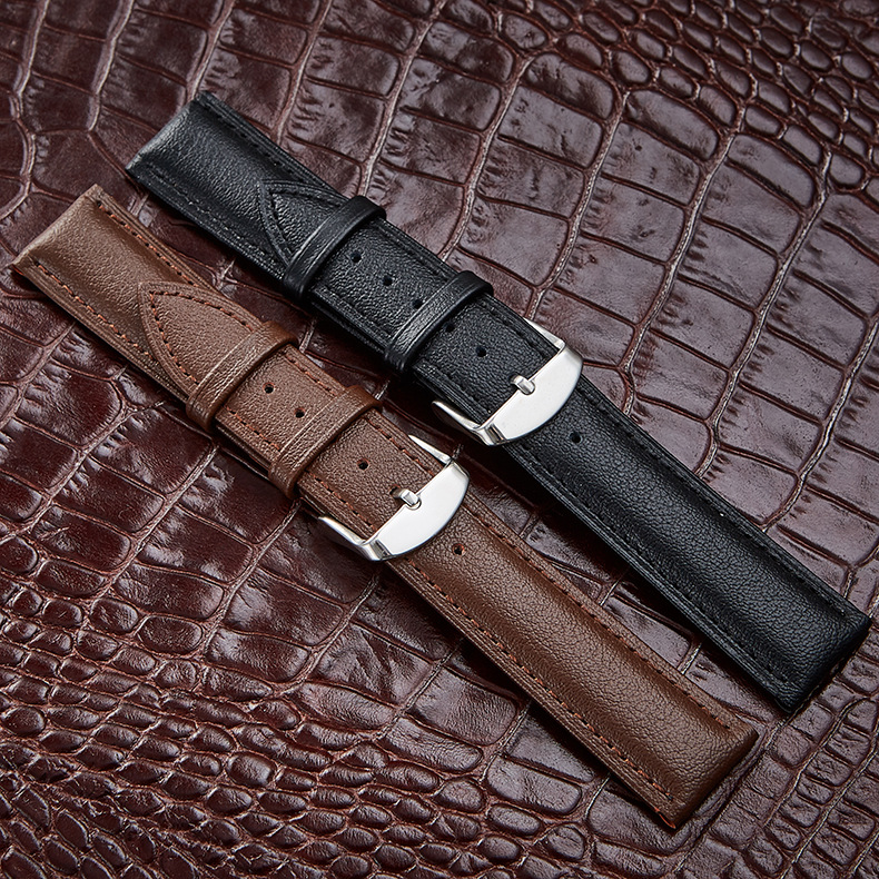 Napa leather Universal <font><b>Watch</b></font> Band <font><b>12</b></font> 14 16 18 20 22 24 <font><b>mm</b></font> Replacement <font><b>Watch</b></font> <font><b>Straps</b></font> Genuine Leather Black Brown Women Men Band image