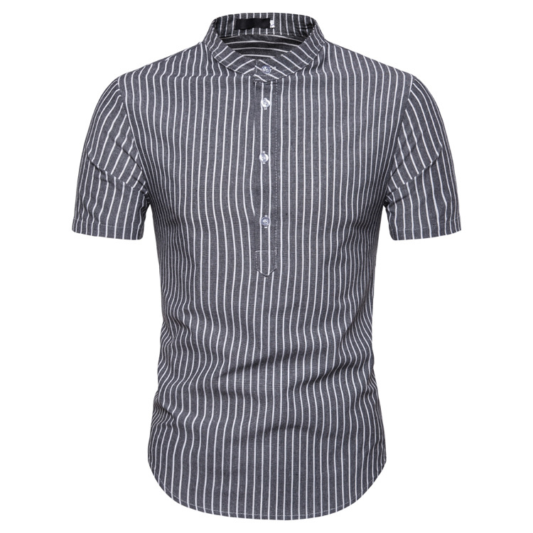 Man Shirt Cotton Spring Autumn Casual Short Sleeve Shirts