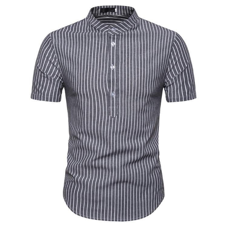 Man Shirt Cotton Spring Autumn Casual Short Sleeve Shirts