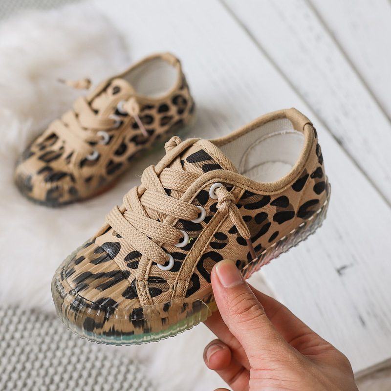 Kids Canvas Shoes Spring Autumn Leopard Running Boys Girls Sneakers Children Casual Shoes Soft Boys Flat Student Sports Shoes