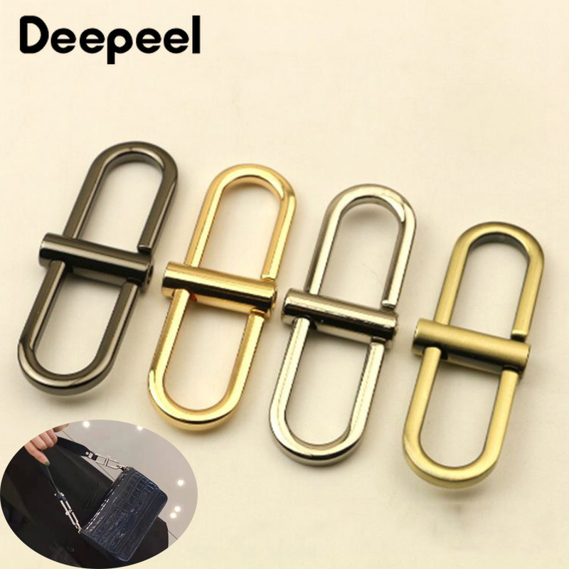 Deepeel 2/6pcs 68X20.5mm Fashion Bags Chain Handle Connection Buckle Metal Ring Adjust Hook DIY Leathercrafts Hardware Accessory