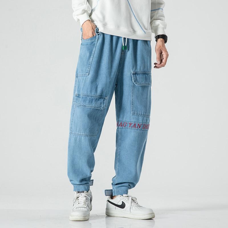 New Trousers Summer Baggy Homme Classic Cargo Pocket Jeans Mens Blue Color Casual Pants Biker Denim Trousers
