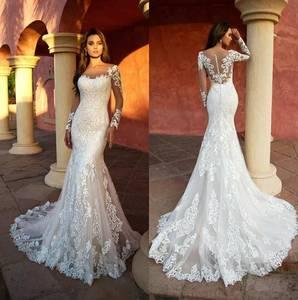 Image 1 - Custom Made Kant Mermaid Trouwjurken Lange Mouwen White Wedding Gown Sexy Vintage 2020 Bruid Jurk Robe De Mariage