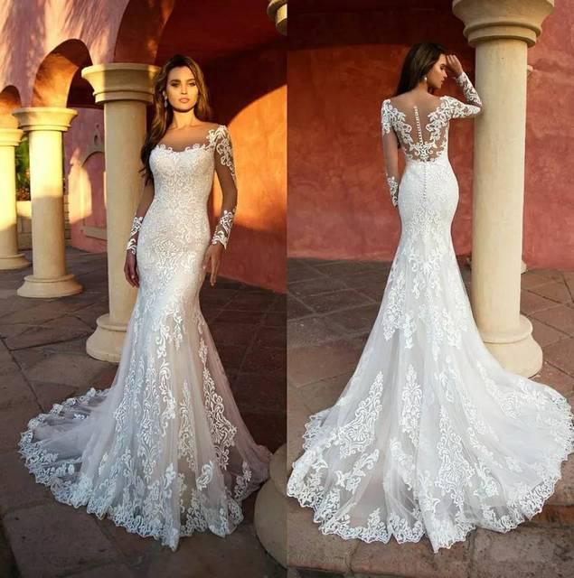 Custom Made Kant Mermaid Trouwjurken Lange Mouwen White Wedding Gown Sexy Vintage 2020 Bruid Jurk Robe De Mariage