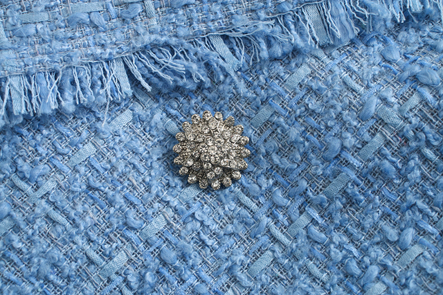 Toppies 2020 bleu twill tweed veste vintage treillis femmes costume vestes dames asymétrique double boutonnage manteau 5