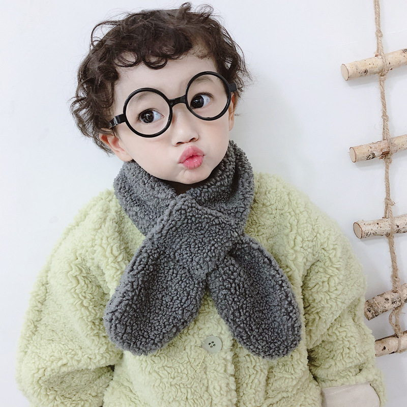 Autumn & Winter New Style Children Plush Scarf Cute Parent And Child Scarf BOY'S Girls Plush Warm Cross Scarf