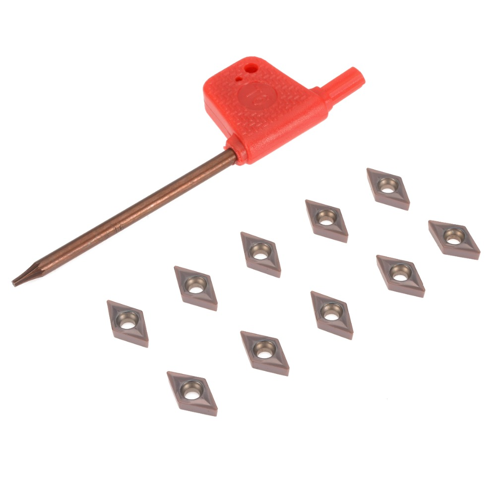 10Pcs DCMT0702 YBC205 Carbide Insert Cutter Blades 2.38mm Thickness + Wrench For CNC Lathe Boring Turning Tool