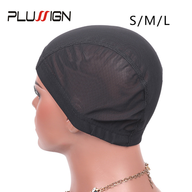 Plussign 12 Pcs/Lot Spandex Mesh Dome Wig Cap For Making Wig Glueless Weaving Cap Hair Wig Net With Elastic Band For Women Girls